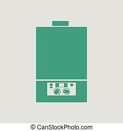 Gas boiler icon. Gray background with green. Vector...