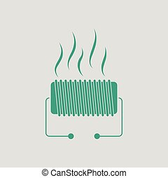 Electrical heater icon. Gray background with green. Vector...