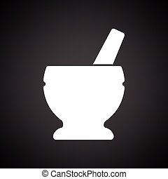 Mortar and pestle icon. Black background with white. Vector...