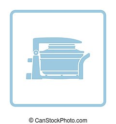 Electric convection oven icon. Blue frame design. Vector...