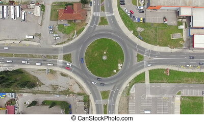 aerial view of roundabout in Podgorica city, Montenegro,...