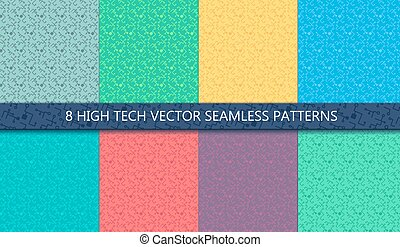 Computer Processor Chip Seamless Patterns Set for print,...