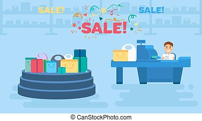 Shopping concept illustration - Store with sale showcase and...