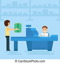Shopping concept illustration - Store with customer and...