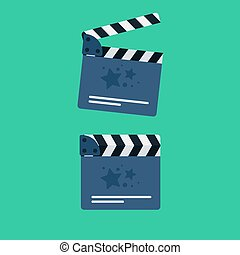 Flat movie clapperboard symbol. Stylish blank movie...