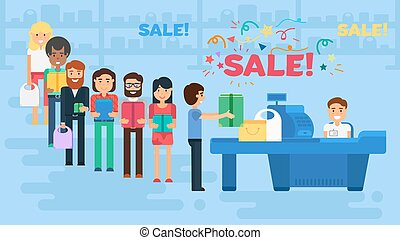 Shopping concept illustration - Store with customers crowd...