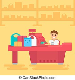 Shopping concept illustration - Store with cashier near cash...