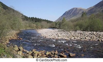 Beautiful Scottish Highlands River Nevis south of Ben Nevis...