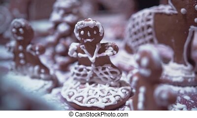 Christmas gingerbread cookies with ornaments. New Year...