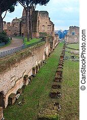 Palatine Hill in Rome, Italy. - Hippodrome Stadium of...