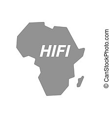 Isolated Africa map with the text HIFI - Illustration of an...