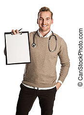 Attractive doctor with document