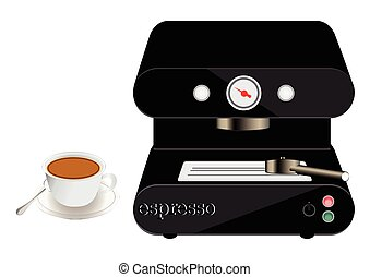 espresso machine and a cup of coffee