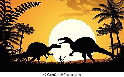 Spinosaurus - Silhouettes of dinosaurs. Two Spinosaurus on...