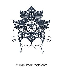 Eye on Lotus Tattoo - Vintage All Seeing Eye in Mandala...