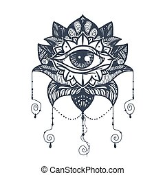 Eye on Lotus Tattoo - Vintage All Seeing Eye in Mandala...