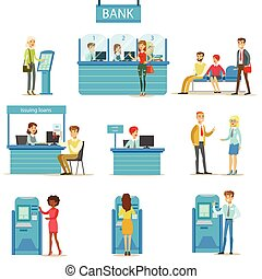 Bank Service Professionals And Clients Different Financial...