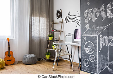 Room with music inspired design - Shot of a modern room with...