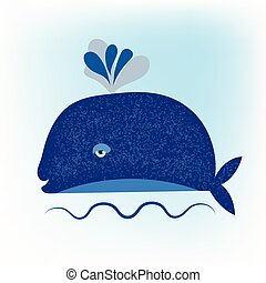 blue whale vector - Vector cartoon blue whale swimming in...