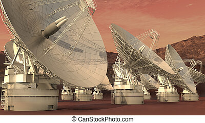 Satellite dish array - 3D Illustration of a satellite dish...