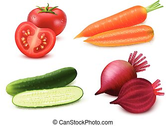 Realistic Vegetables Set - Realistic vegetables set with...