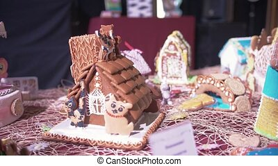 Christmas gingerbread house. New Year atmosphere - Christmas...