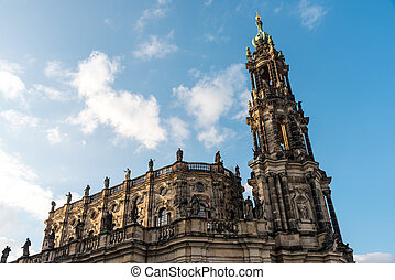 The baroque Hofkirche in Dresden - The famous baroque...