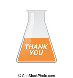 Isolated test tube with the text THANK YOU - Illustration of...
