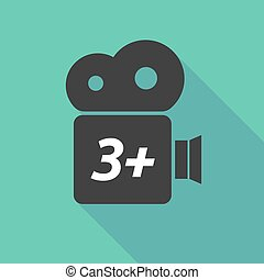 Long shadow camera icon with    the text 3+