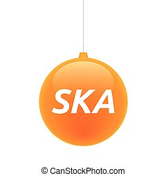 Isolated christmas ball with the text SKA - Illustration of...