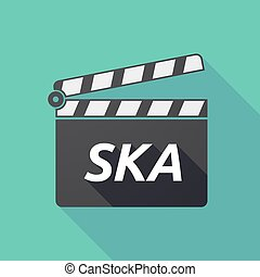 Long shadow clapper board with the text SKA - Illustration...