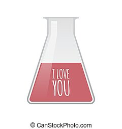 Isolated test tube with the text I LOVE YOU - Illustration...