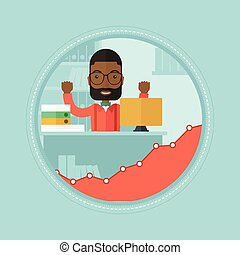 Cheerful office worker vector illustration. - An african...