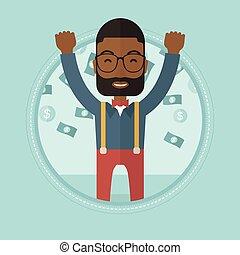 Happy busiessman under money rain.