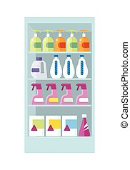 Shelves with Household Chemicals Illustration. - Shelve in...