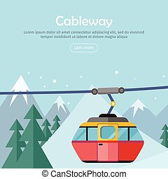 Cableway on Mountain Landscape. Web Banner Poster - Cableway...