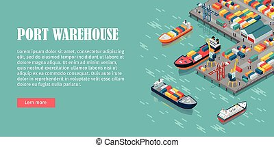 Cargo Port Illustration in Isometric Projection - Warehouse...