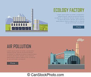 Ecology Factory and Air Pollution Banners - Ecology factory...