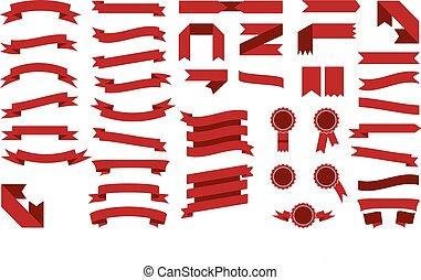 Set of beautiful festive colored red ribbons. Vector illustration
