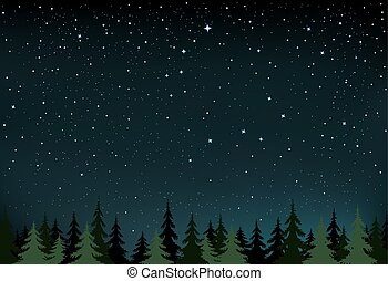 night stars and wood - The night wood and space with stars...