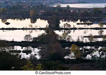 """View of the """"pond Torbiere"""" by Lake Iseo in the province of..."""