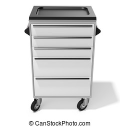 mobile tool cabinet with drawers on white background 3D...