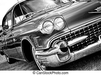 Classic Automobile - Black and White close up details of a...