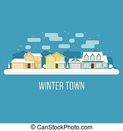 Winter town landscape. Vector illustration.