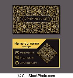 Business card. Vector editable template include front and back s