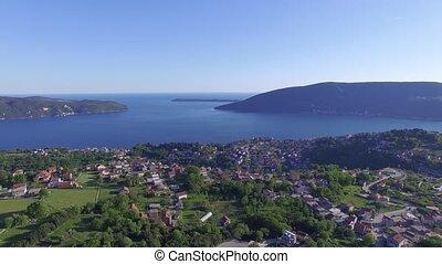 Aerial view of Herceg Novi, Kotor Bay, Montenegro