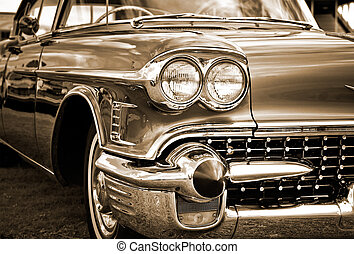American Classic Caddilac Automobile Car. - Sepia close up...