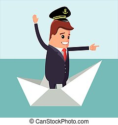 Vector illustration. Manager character on the paper boat. -...