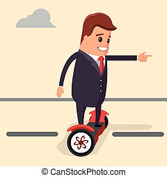 Vector illustration. Businessman riding on a segway. Manager...