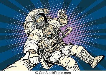 Follow me robot astronaut gesture okay, pop art retro vector...